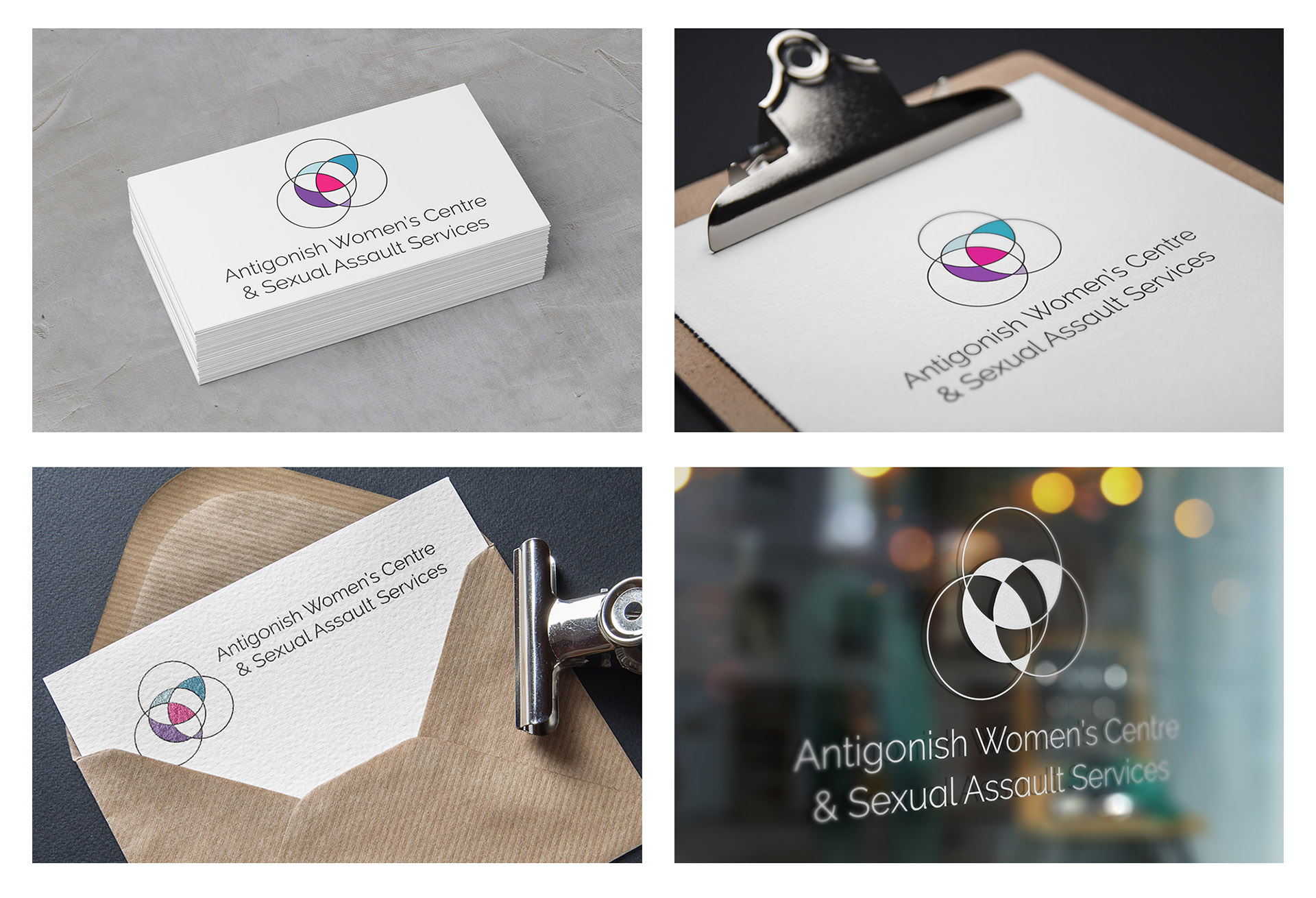 new logo mocked up on business cards, letterhead, correspondence and glass window